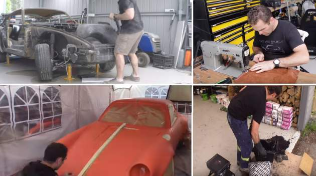 "Screenshot z YouTube videa ""Home Built DIY Dream Porsche 911 in 4 minutes"""